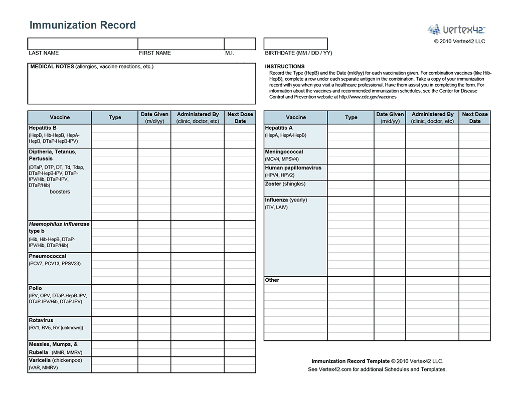 Free printable Immunization Record (PDF) from Vertex42.com ...