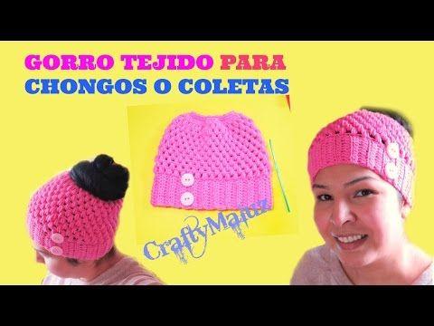 Gorro para cola de caballo o moño tejido a crochet en 4 tallas! Tejiendo  Perú - YouTube e59735de425
