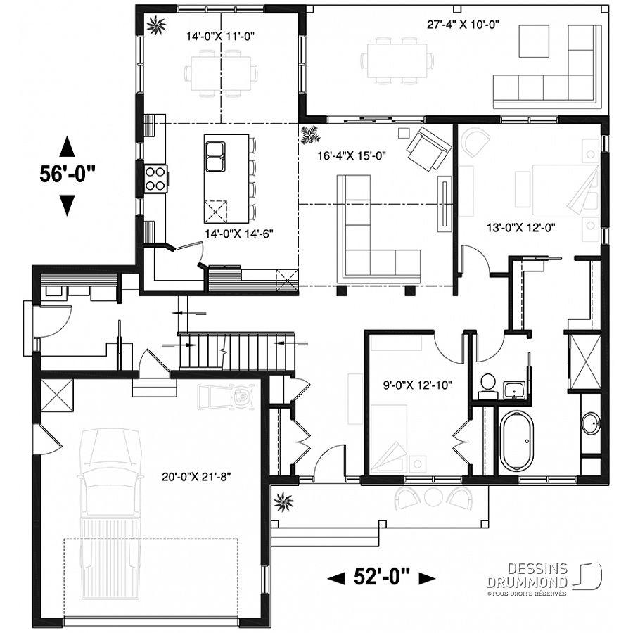 Plan De Maison Unifamiliale Jennifer W3246 V2 Dessins Drummond