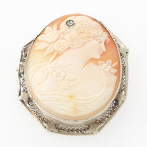 A 14ct white gold shell Cameo set with an old cut diamond. #Rutherford #Melbourne