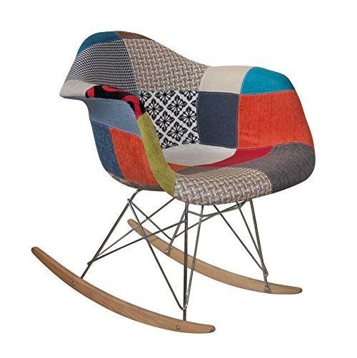 Original silla mecedora de dise o retro para lactancia con retales de patchwork tower wood para - Silla mecedora de lactancia ...