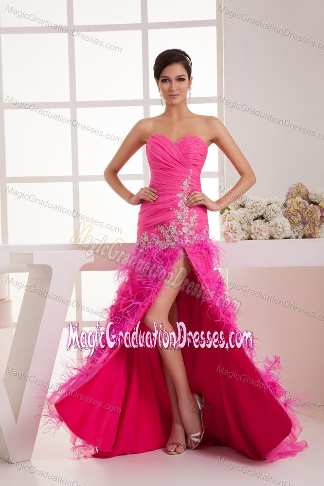 Sweetheart Hot Pink Appliques Graduation Dress with High Slit ...
