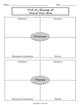 M A I N Cause Of World War One Graphic Organizer The First Essay