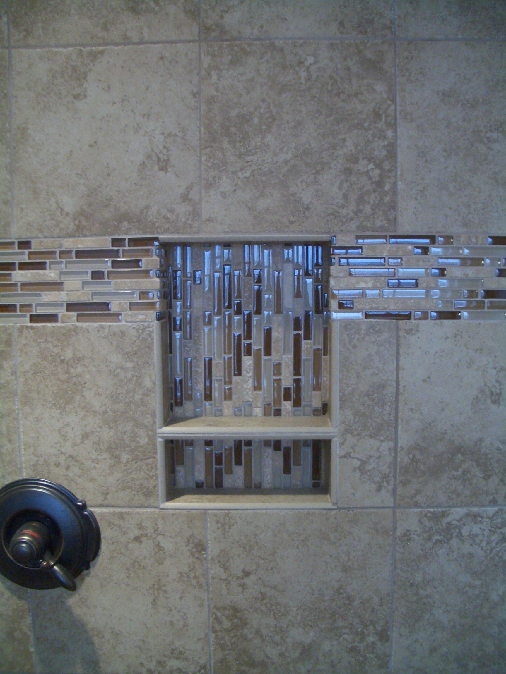 Sophisticated Two Tier Shower Niche With Marble Wall Tile In Luxury Walk In Shower Designs