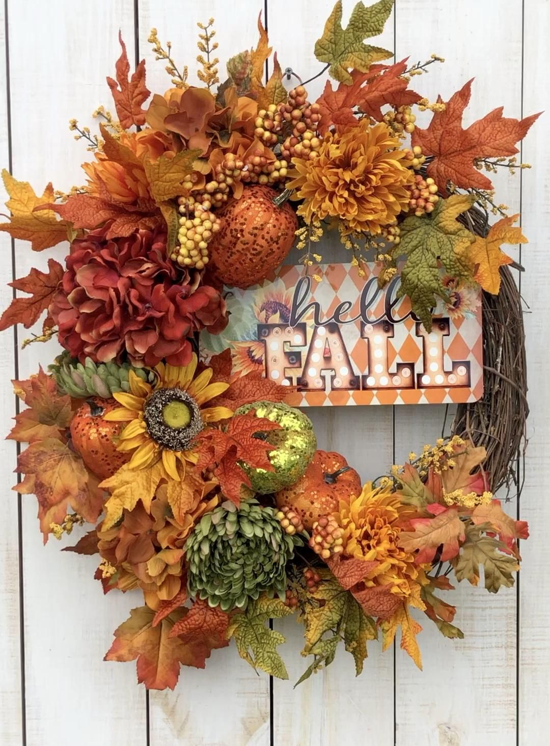 Fall pumpkin and sunflower wreath -   18 thanksgiving home decor ideas