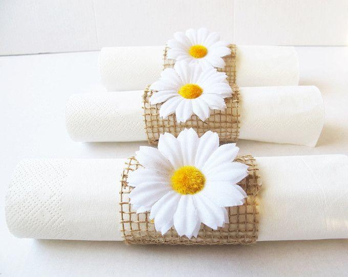 15 Napkin Rings Yellow Sunflowers Brown Burlap Wedding