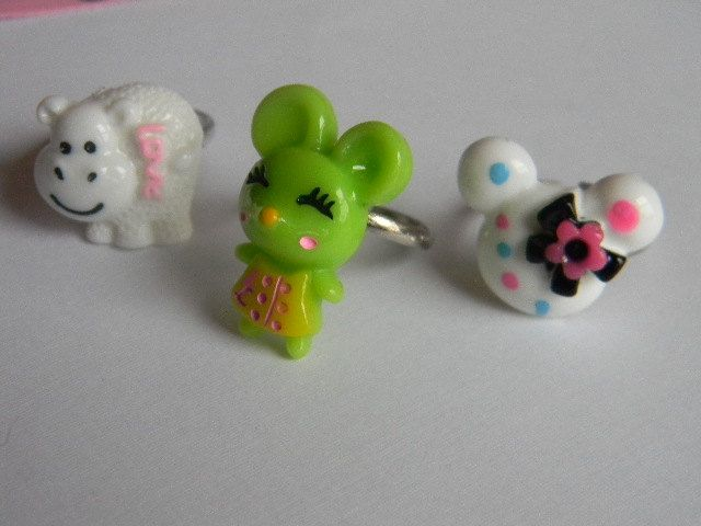 Cute Little Critters Ring Set 3 pcs Sized for by 6andStones, $5.25