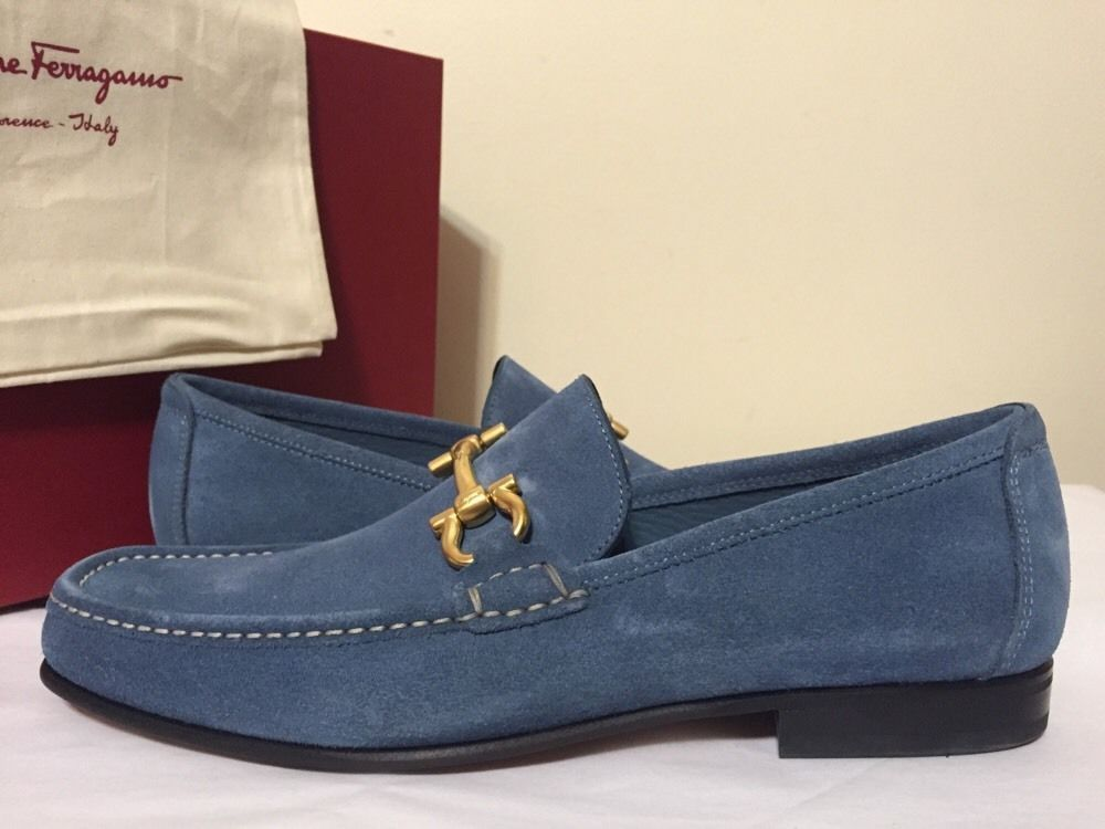 Salvatore Ferragamo Giordano Gancio Bit Loafer Sugar Pale Blue Suede Men  Loafers #SalvatoreFerragamo #LoafersSlipOns