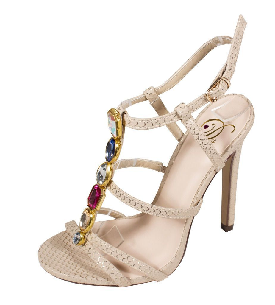a4521ac1214075 Lustacious Women S Cherlin Open Toe Slingback Strappy Diamond High Heel  Sandals