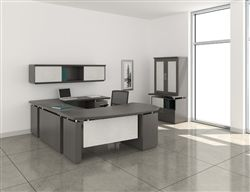 Textured driftwood Mayline Sterling series U shaped desk with executive wall cabinet configuration.