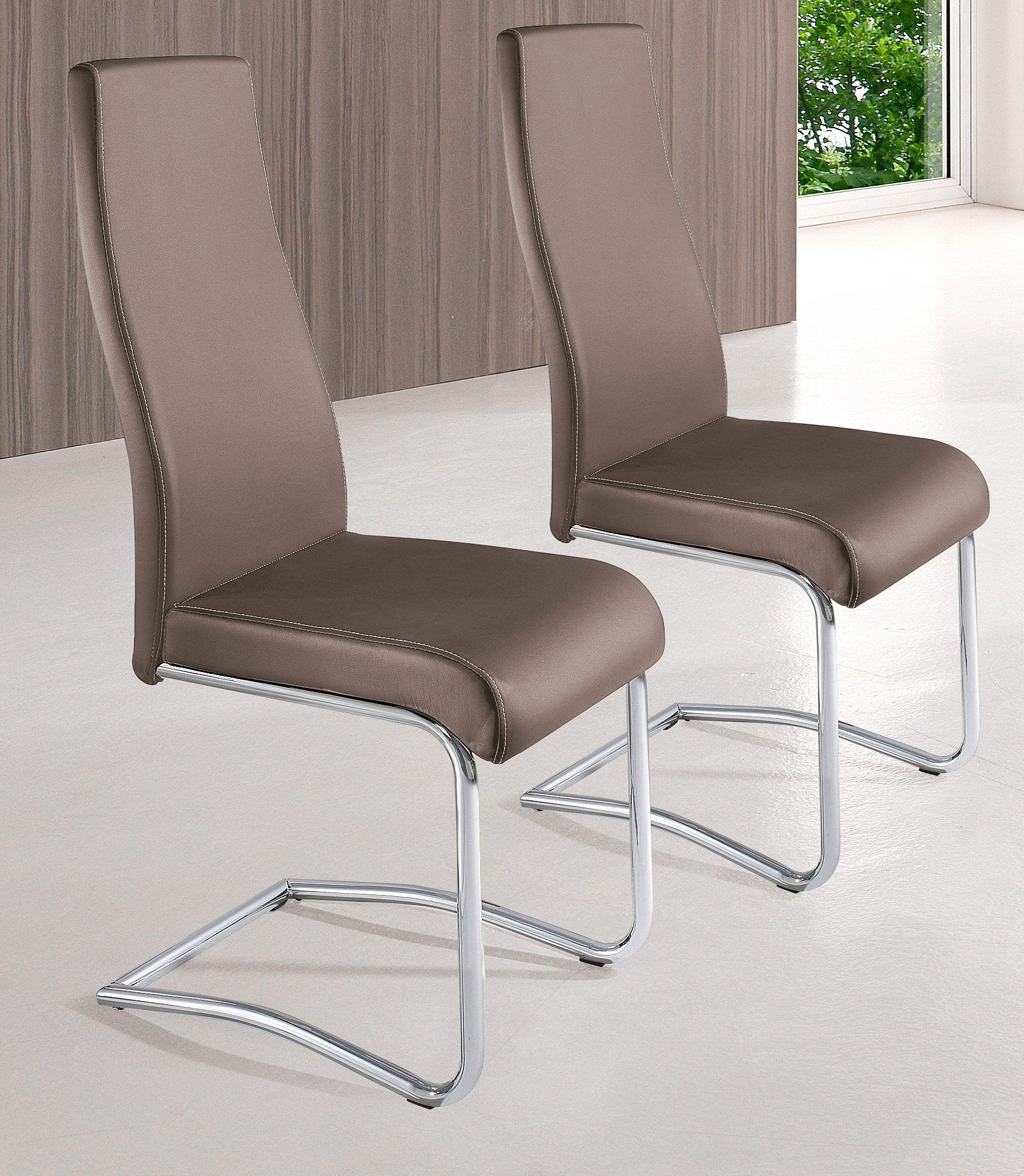 Stühle (2 Stck.) beige, Gestell Schwinger Rundrohr chrom, Kunstleder ...