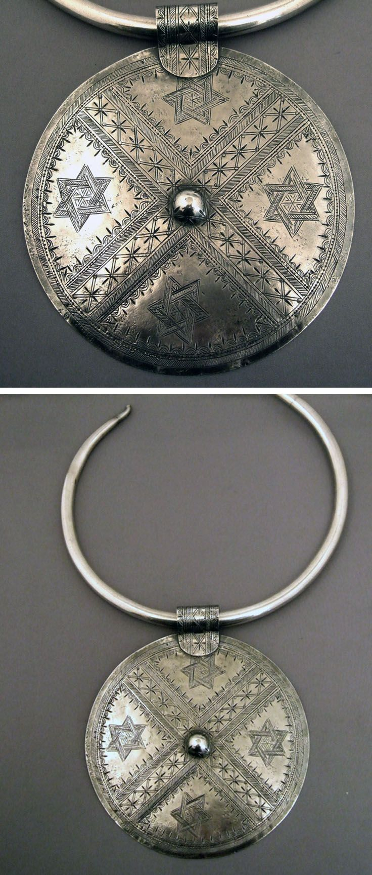 Egypt | Pendant necklace from the Oasis of Siwa (Egyptian - Libyan border).  Jewish craftsmanship | Silver | Sold