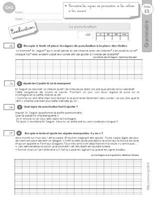 Cm2 Exercices La Ponctuation Evaluation Cm2 Passe Simple Ponctuation