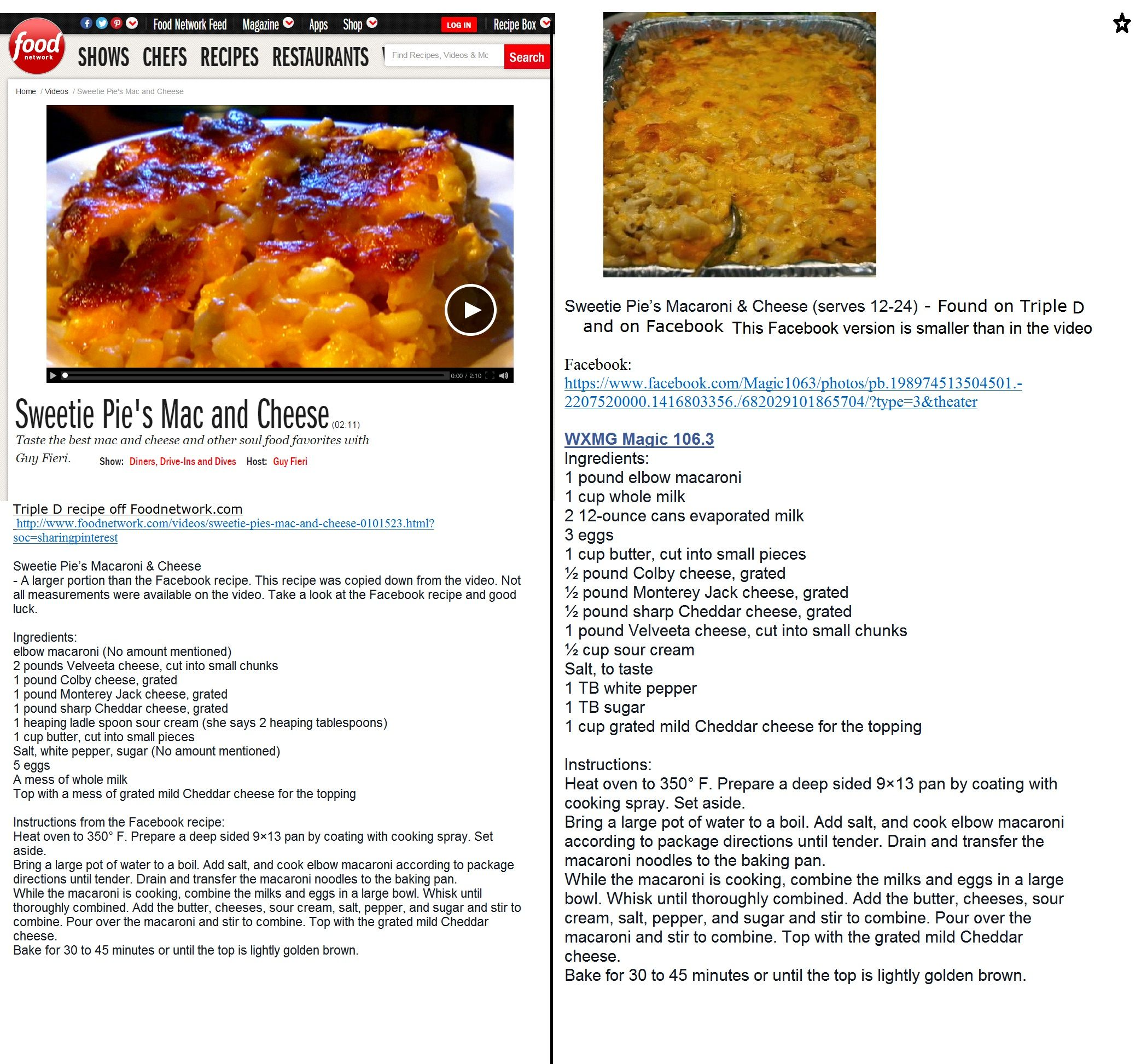 As seen on ddd sweetie pies mac and cheese copied from the taste the best mac and cheese and other soul food favorites with guy fieri forumfinder Images
