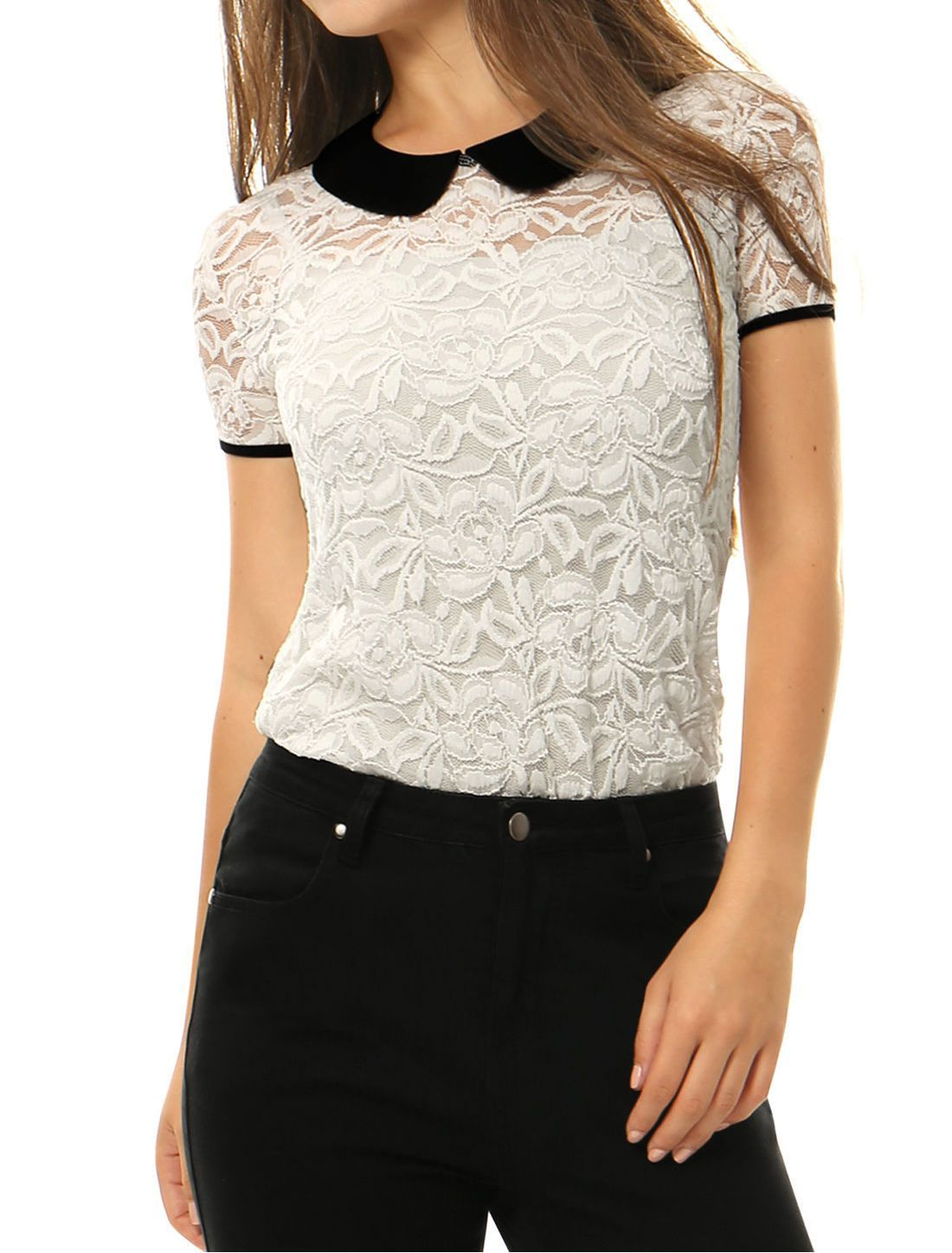 12a6e3ff0ad259 Allegra K Women See Through Contrast Peter Pan Collar Lace Top ...