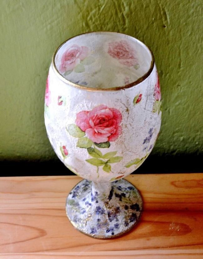 How To Decoupage On Glass With Rice Paper Napkin Glitter And