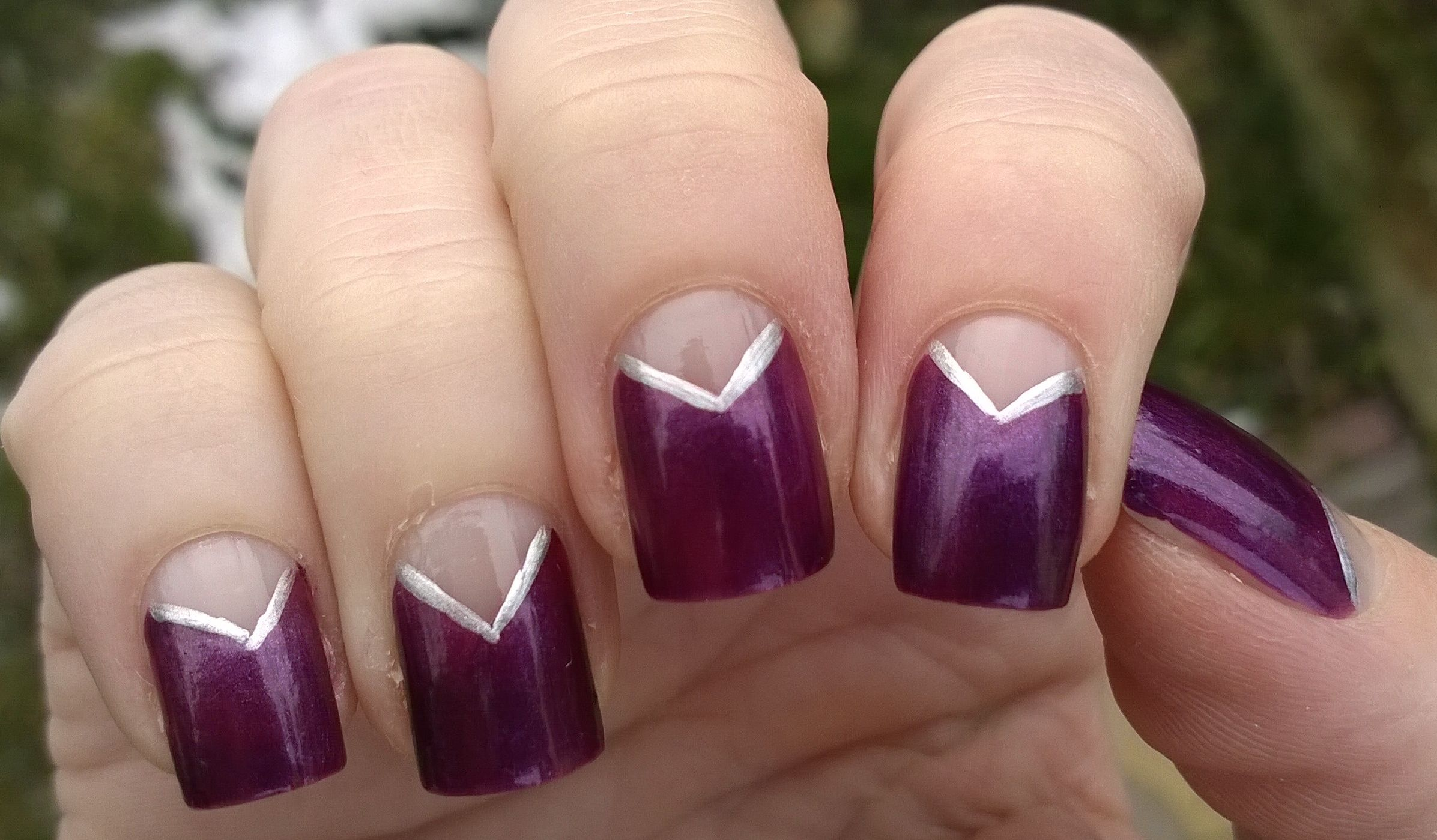 Elegant Nail Designs Lilac And Silver V Nail Art Httpswww