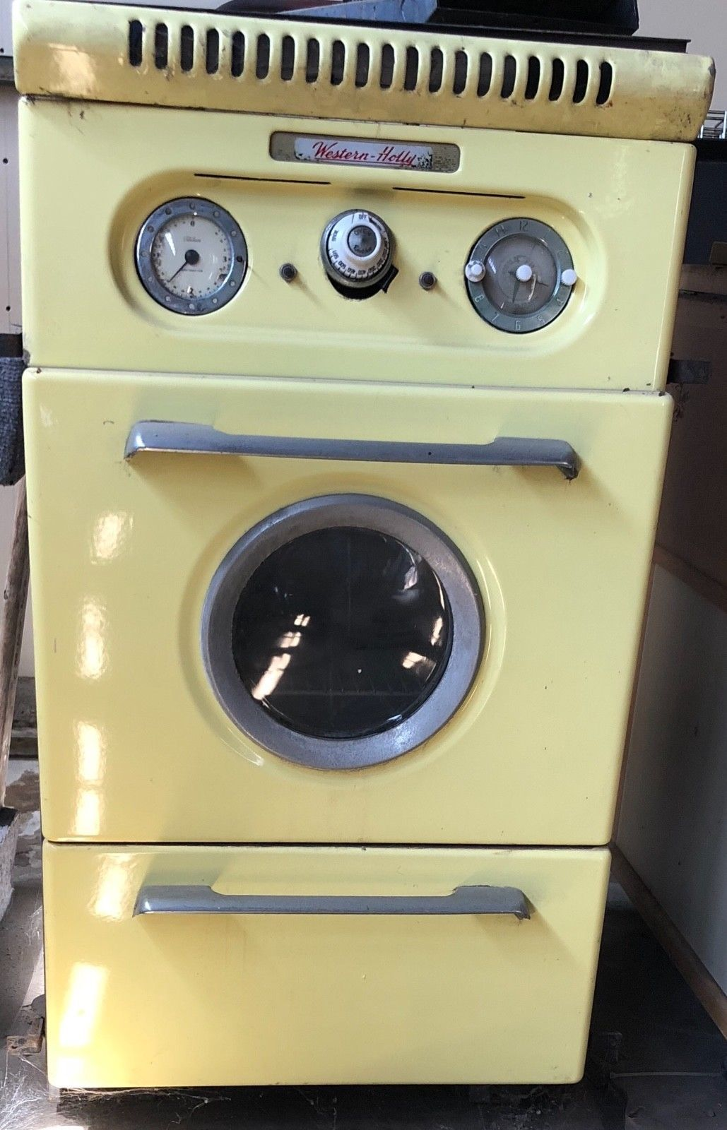 Vintage Western Holly Built In Oven Bright Yellow Gas Round Porthole Ebay Built In Gas Ovens Vintage Appliances Vintage
