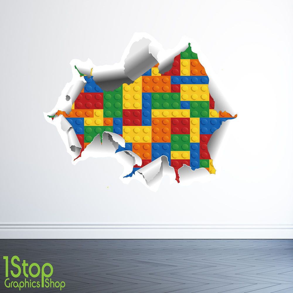 Lego wall sticker 3d full colour boys lego graphic c323 in home furniture diy home decor wall decals stickers ebay