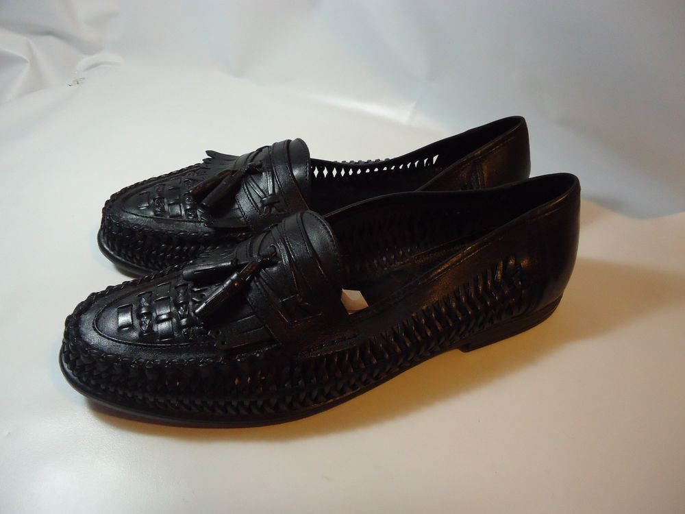 VINTAGE Men's Nunn Bush Shoes Black Cut/Braided Leather Loafers  Brazilian-12 D