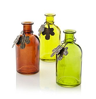 "Glass Decorative Bottles Livingquarters 5"" Tall Colored Glass Decorative Bottle"