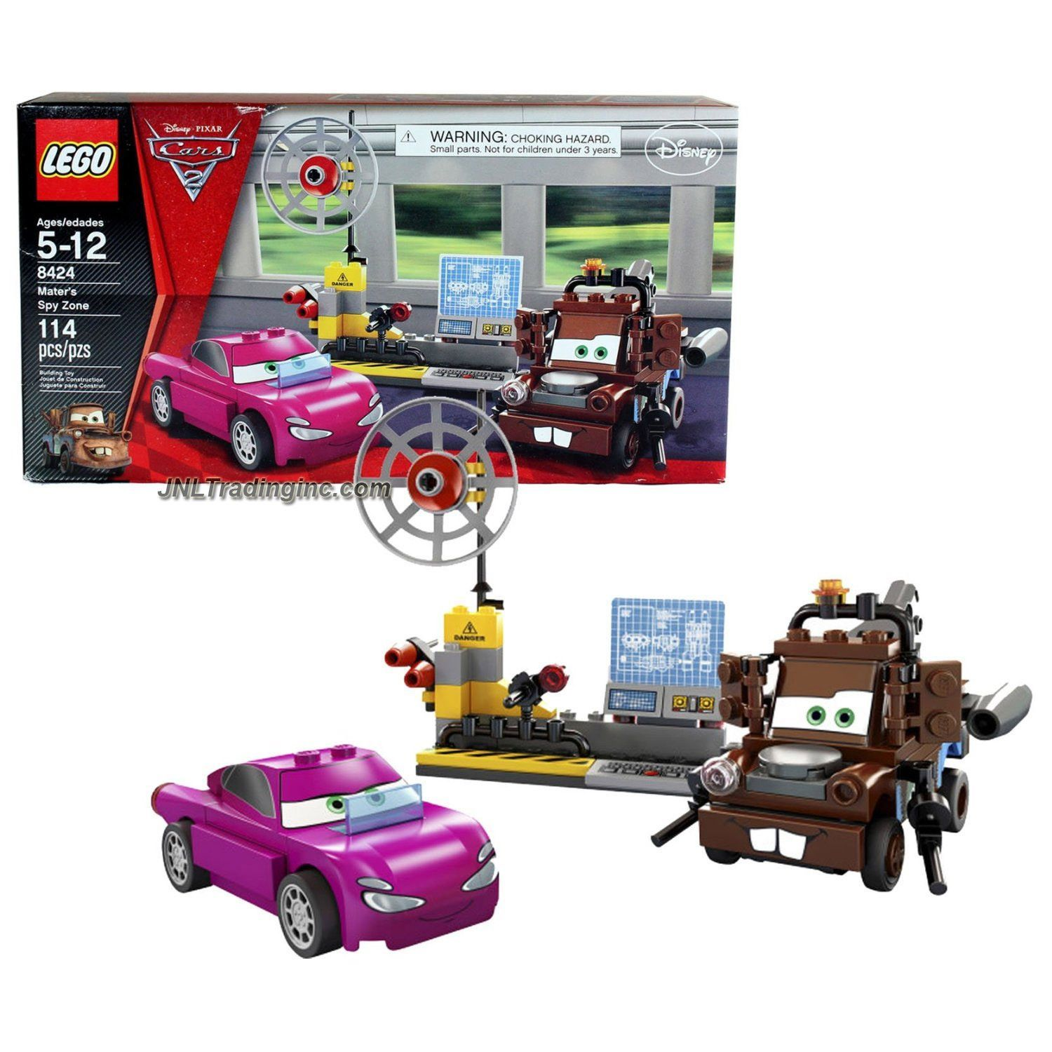 Lego Disney Pixar Cars Set 8424 Mater S Spy Zone With Spy Computer Satellite Dish Plus Agent Mater Holley Shiftwell Piece 114 Disney Lego Minifigures Disney Pixar Cars Lego Disney