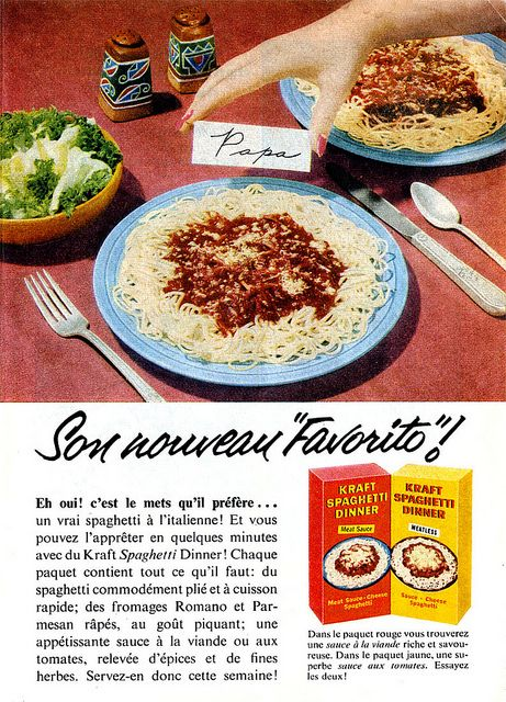 Vintage French ad for Kraft Spaghetti Dinner (1957). #vintage #1950s #food #ads