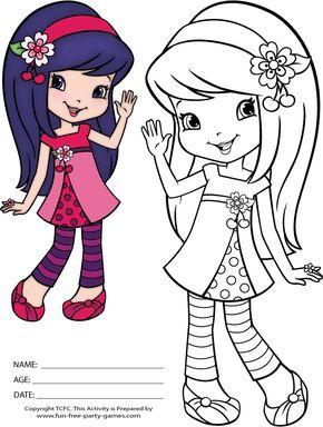 Strawberry Shortcake Coloring Pages Cherry Jam Waves Hello Desenhos Para Colorir Ladybug Desenhos Infantis Para Pintar Desenho Moranguinho