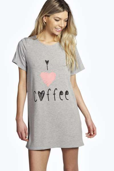 9b53f1aed9b8 Vanessa Coffee Oversize Tshirt Night Dress at boohoo.com | Zzzzz ...