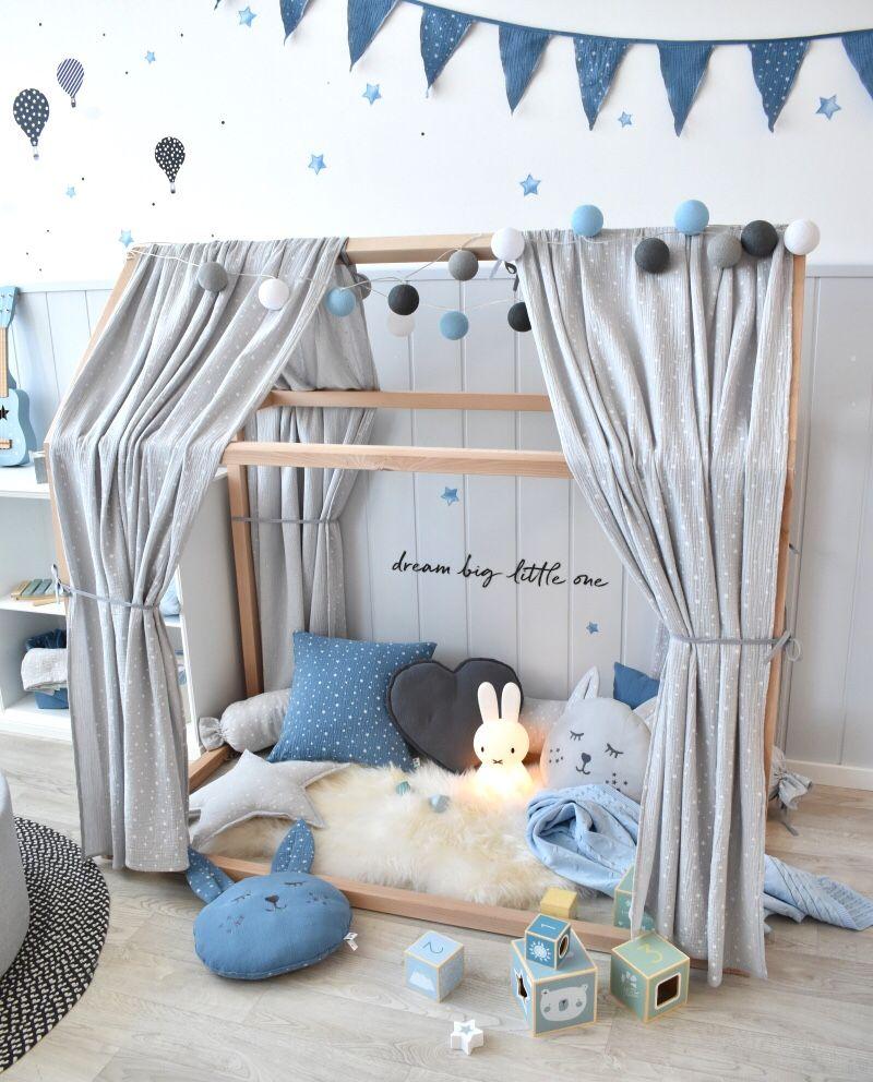 Dinki Balloon Musselin Stoffhimmel für Hausbetten 'Sterne' hellgrau 330cm bei Fantasyroom online kaufen