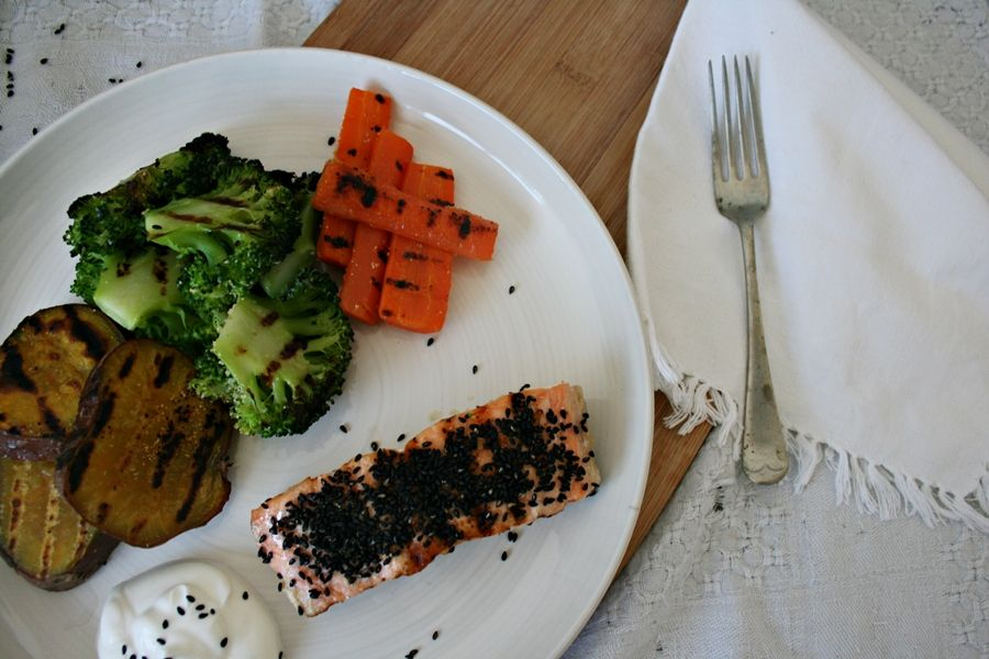 get some coconuts: sesame salmon with grilled everything
