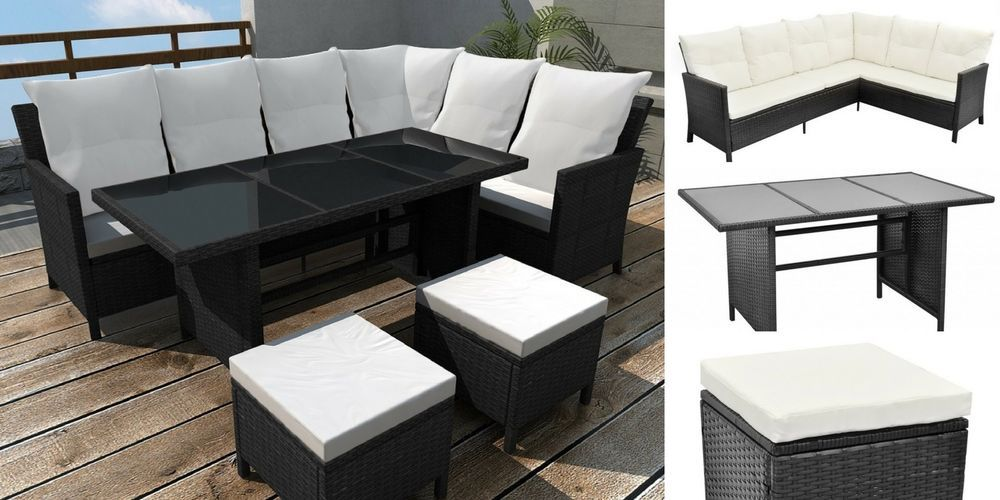 Details About Rattan Corner Sofa Set Black Dining Table Outdoor Pool  Furniture Stools Cushions