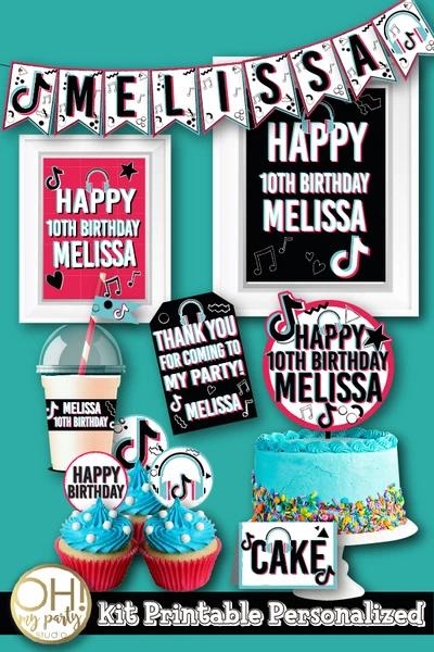 Tiktok Party Decorations Birthday Party Invitations Printable Party Decorations Personalized Happy Birthday Banner