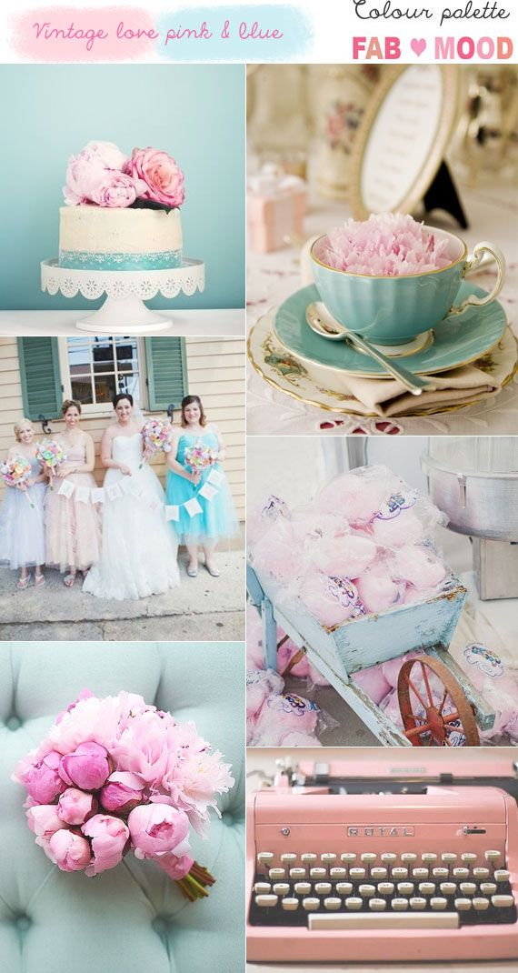 Vintage Love Pink Blue Wedding Stuff Wedding Wedding Colours