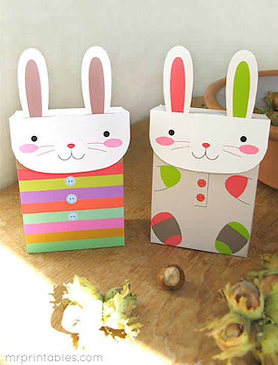 Bunny party favor bags mr printables dolls and toys in paper bunny party favor bags mr printables free printable rabbit gift box bags in pink or bright geometric colors for easter baskets or brunch take home negle Image collections