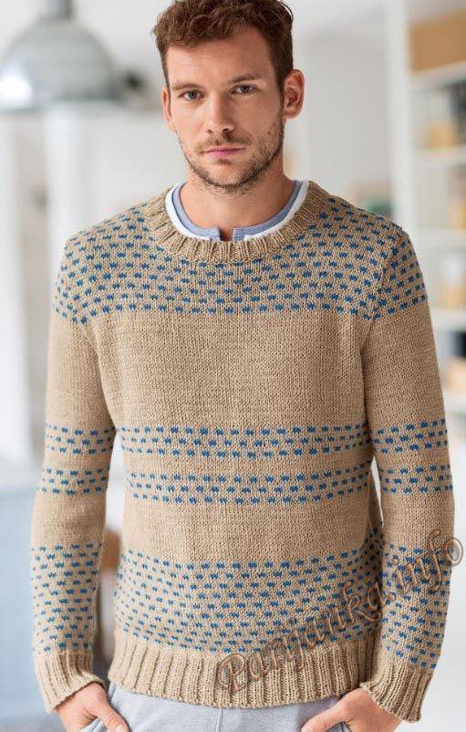 Пуловер из жаккарда с круглым вырезом