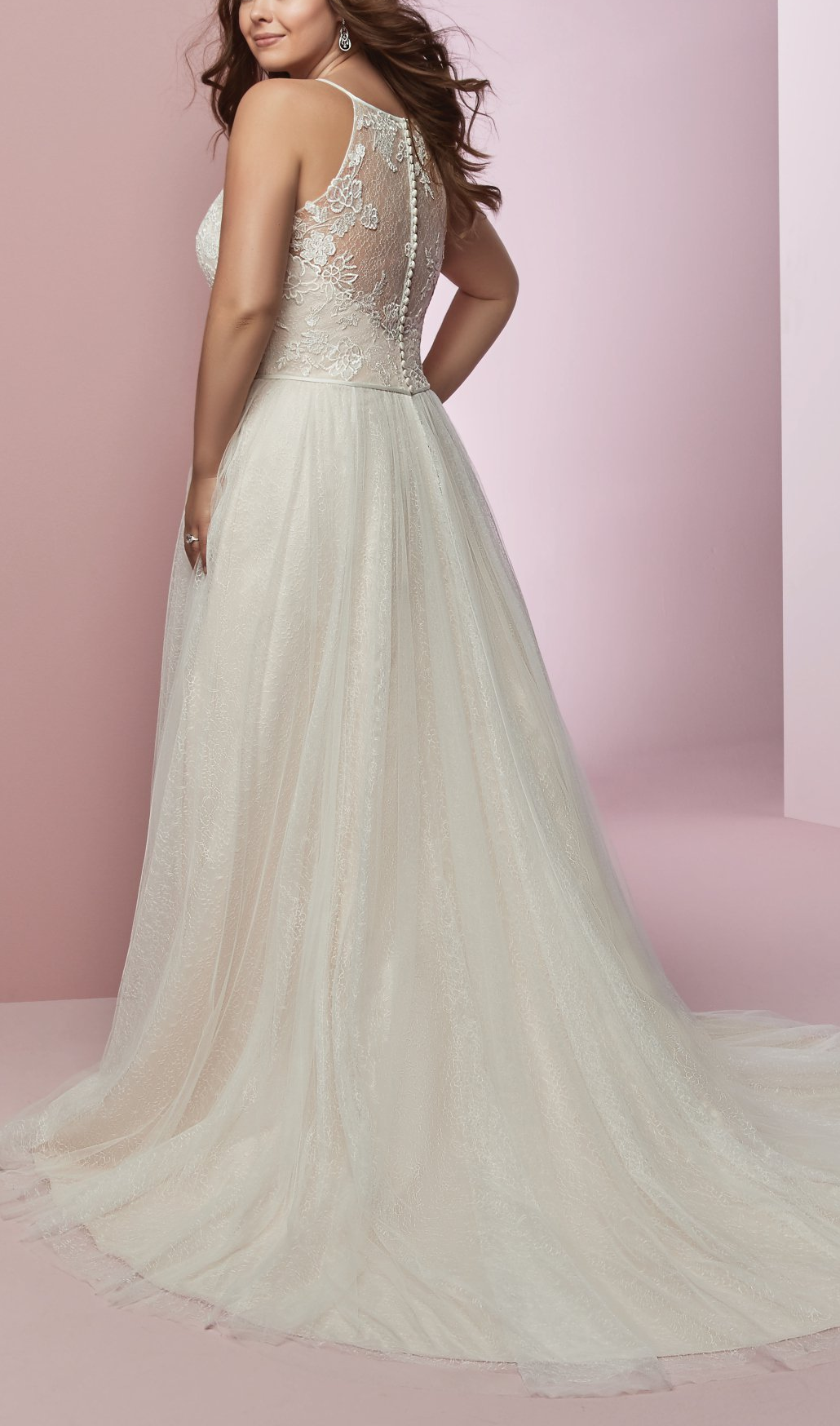 725087bb15e4 Rebecca Ingram - HEIDI, Soft lace motifs dance over allover lace in the  bodice of this boho wedding dress, featuring a sheer halter neckline and  sheer lace ...