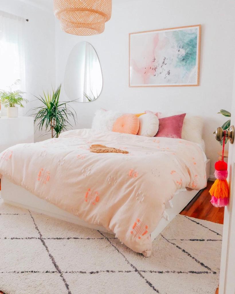 Vanilla Ice Cream Neutral Modern Rug Hesby In 2020 Yellow Bedroom Interior Design Bedroom Small Aesthetic Bedroom