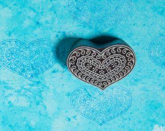 Bloque de madera sello corazón por BLOCKWALLAH en Etsy