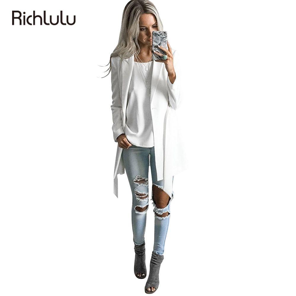 RichLuLu Feste Weiße Blazer Frauen Gürtel Kleidung Büro