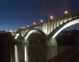 Million Dollar Bridge At Night-Fairmont, WV . . . hey, I helped dedicate that! (The second time, that is.)