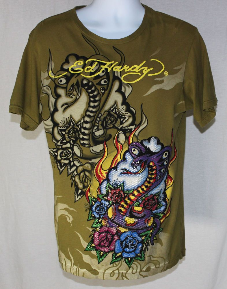 6fa2d2d56bf Christian Audigier Ed Hardy M Army Green Cobra Snake Flame Rose Graphic T  Shirt #EdHardy #ChristianAudigier #ArmyGreen #Cobra #Snake #Flame #Rose  #Graphic ...