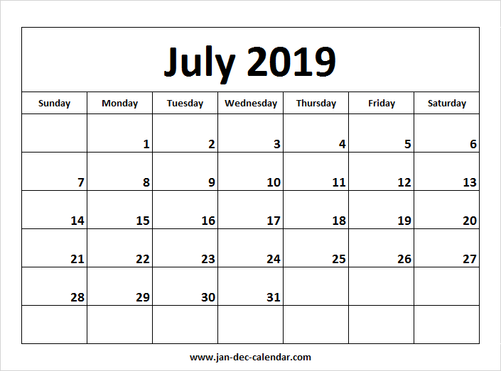 July 2019 Calendar January December Calendar September