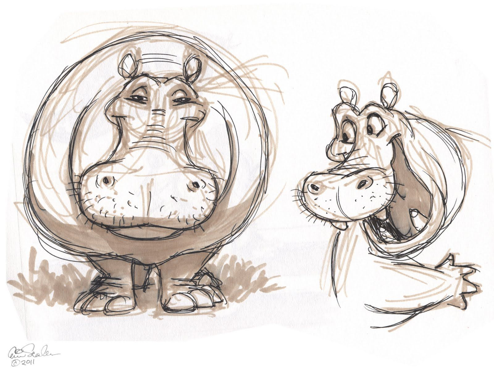Eric scales drawings the ol 39 sketchbook h is for - Dessiner un hippopotame ...