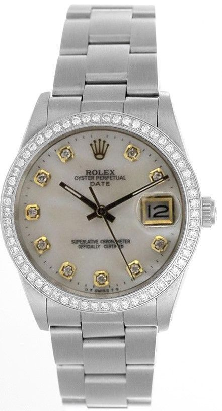 Rolex Date Mens White Mother Of Pearl Diamond Face   Diamond Bezel ... 78a3077855