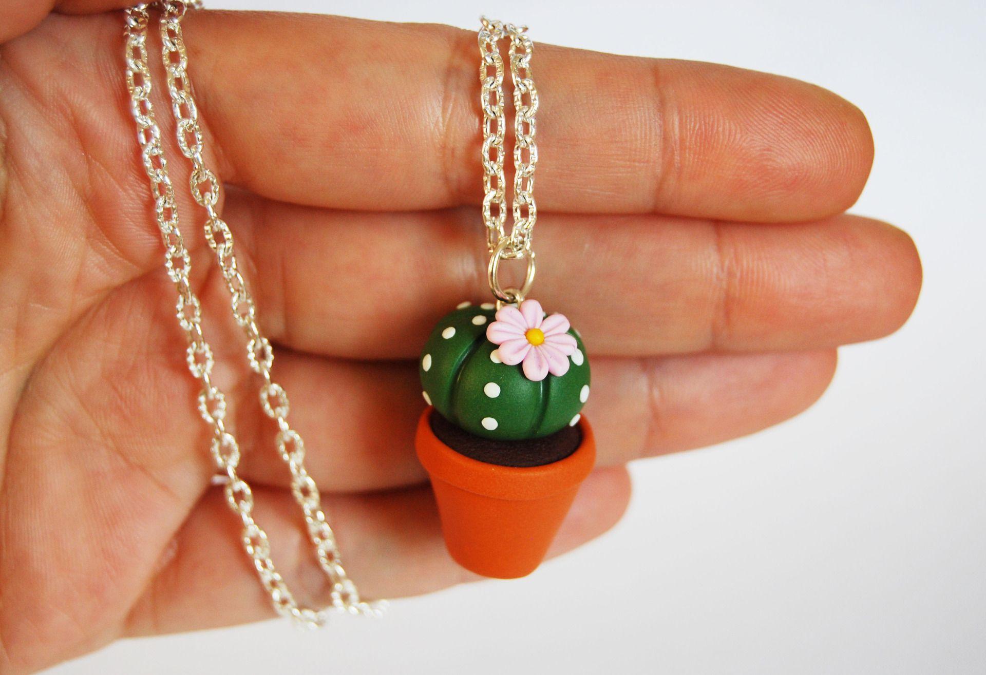 Collana Cactus Pianta Grassa In Fimo Fiore Rosa Collezione