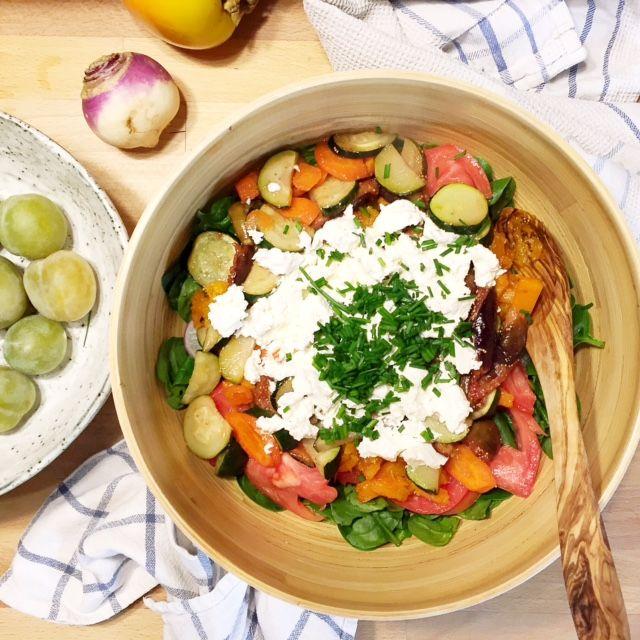 Salade de légumes de saisons rotis au chèvre Frais