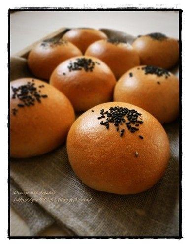 black sesame anpan flavoured with brown sugar bread rolls