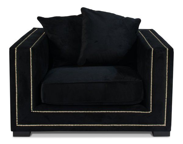 Baccarat Armchair Black Velvet Nailhead Trim Black Velvet Chair Leather Swivel Chair Velvet Chair