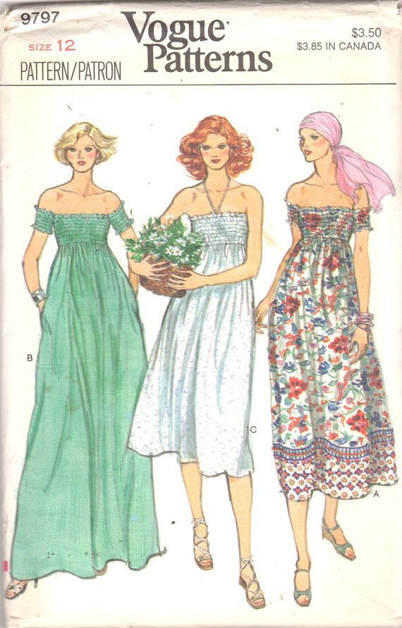 Vogue 9797 1970s Misses Pullover Shirred Dress Pattern By Mbchills